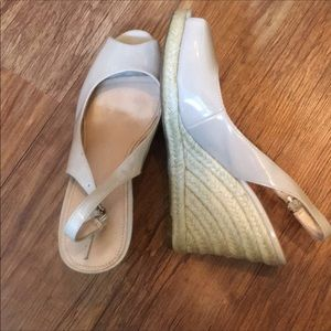 So fun! Marc Fisher nude vinyl wedges!